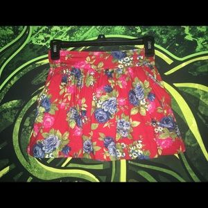 Red Skirt With Flower Pattern